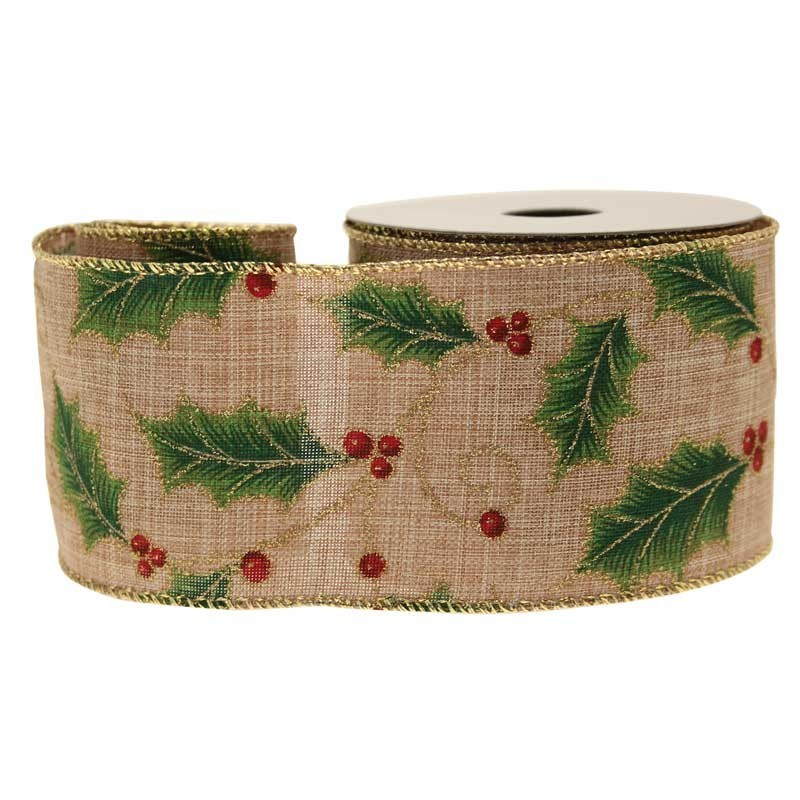 Holly Berries Natural Cotton Ribbon