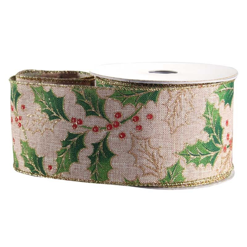 Holly Berries Natural Fabric Ribbon