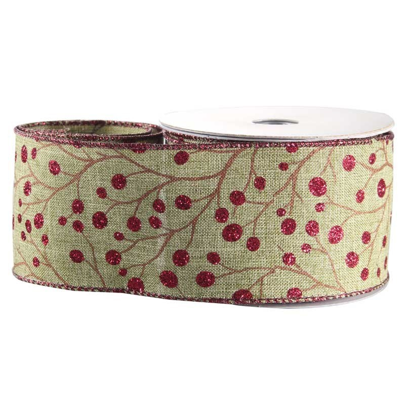 Red Glitter Berry Natural Fabric Ribbon