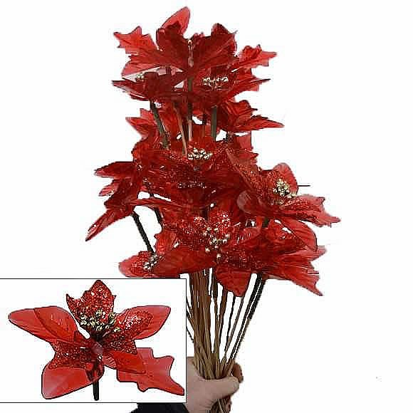 Artificial Poinsettia Picks - Sparkly Red
