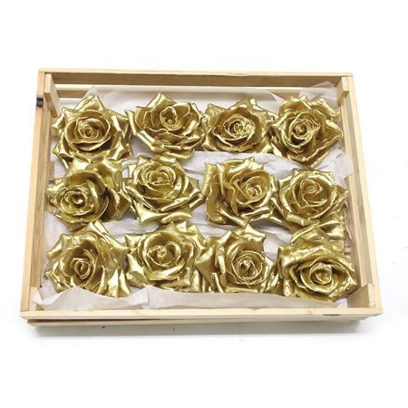 Rose Heads Waxed - Gold
