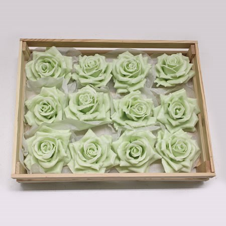 Rose Heads Waxed - Pastel Green