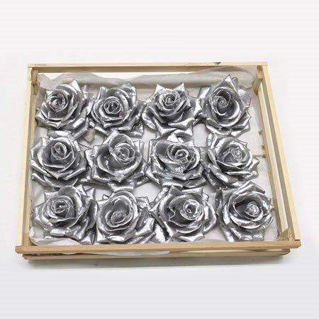 Rose Heads Waxed - Silver