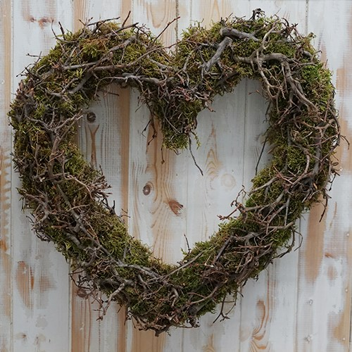 Love Heart Wreath - Bonsai & Moss 45cm