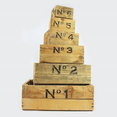 Rustic Numbered Crates (set of 6)