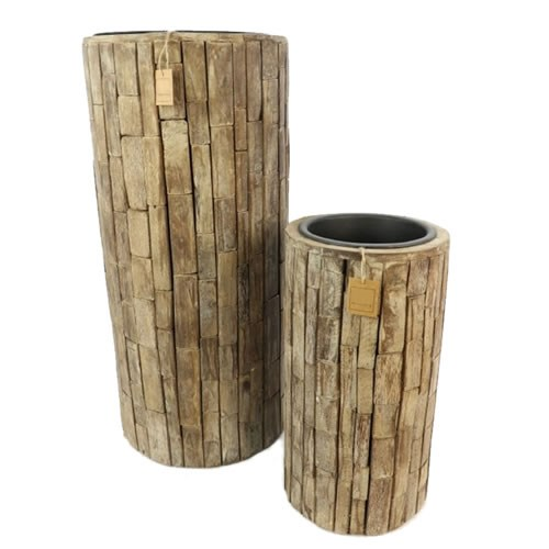 Salvaged Light Wood Planter Set of 2
