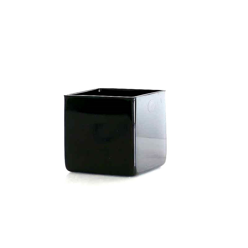 Glass Cube Vase Black - 10cm