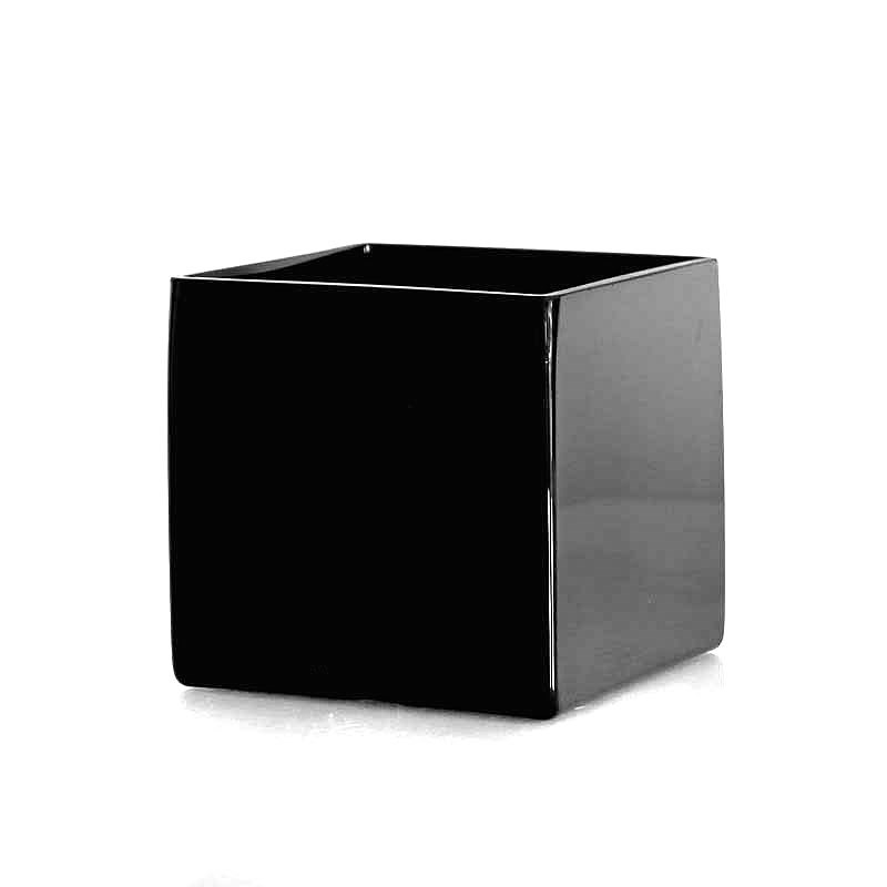 Glass Cube Vase Black - 12cm