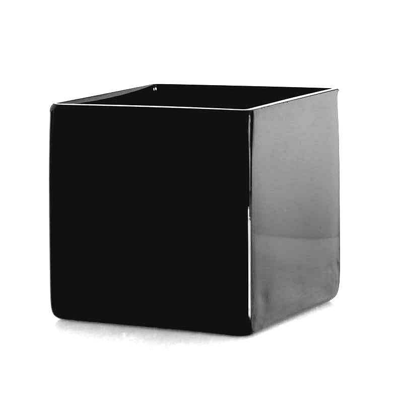 Glass Cube Vase Black - 14cm