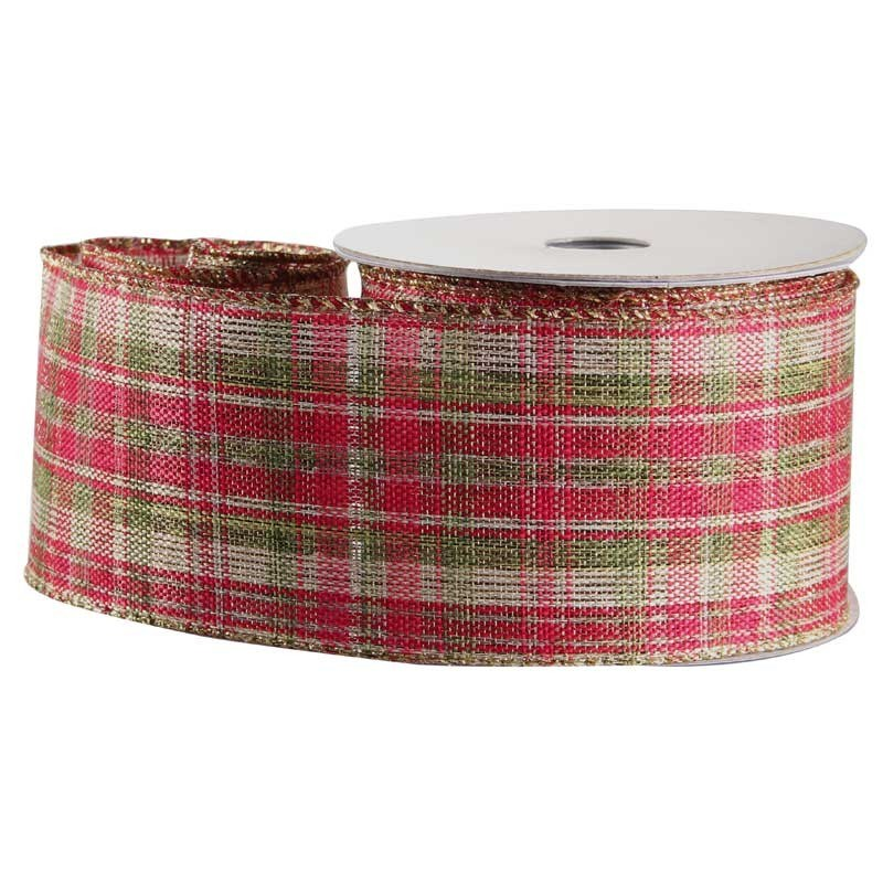 Green, Gold & Red Tartan Fabric Ribbon