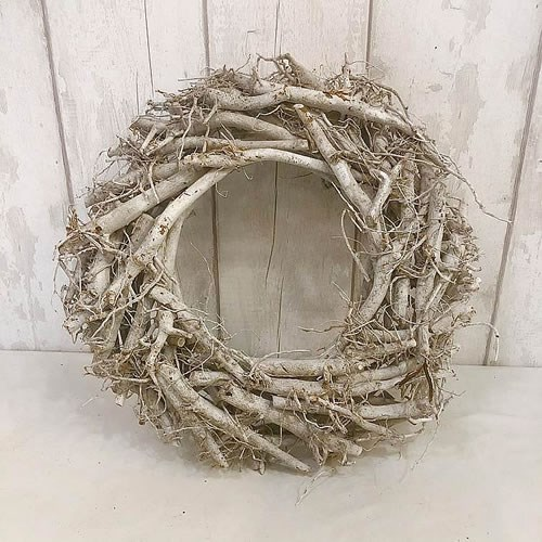 Whitewash Spider Root Wreath 40cm