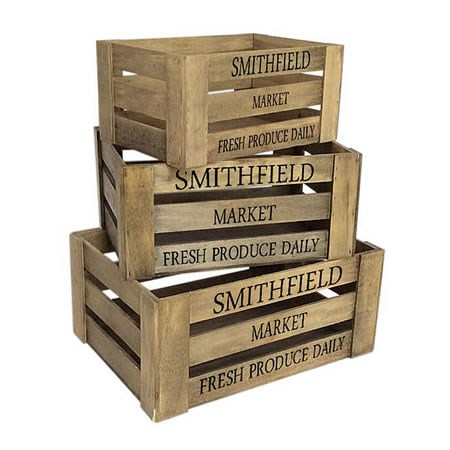 Wooden Crates - Smithfield x 3