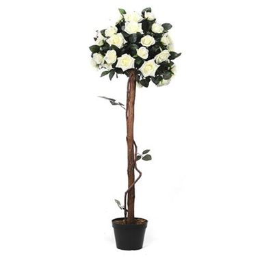 Artificial Cream Rose Tree 4'