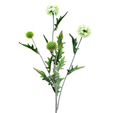 Artificial Echinops Thistle Spray - white