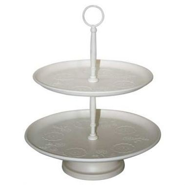 2 Tier Cream Cake Stand - Only 1 Available