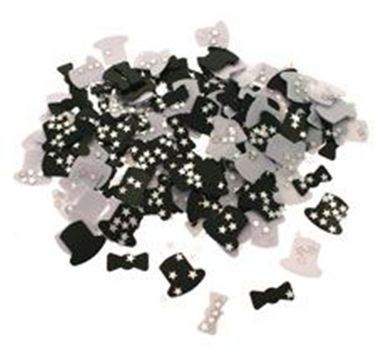 Table Confetti - Black, White Top Hats