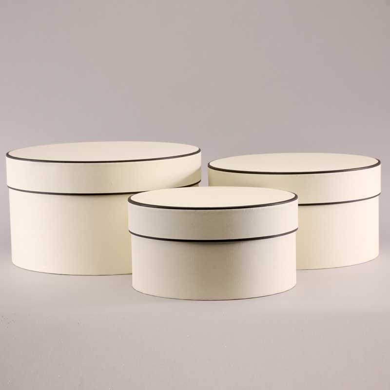 Hat Boxes Round - Cream/Brown (set of 3)
