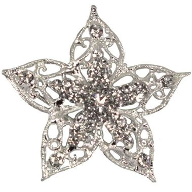 Diamante Flower Brooch 50mm
