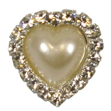 Pearl Heart Brooches 18mm