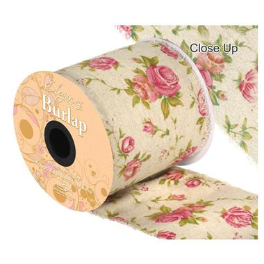 Ribbon Vintage Burlap Rose Print - 100mm