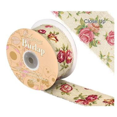 Ribbon Vintage Burlap Rose Print - 50mm