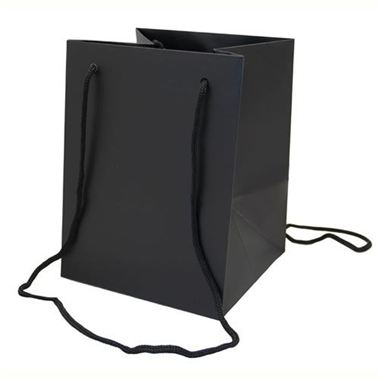 Large Hand Tied Gift Bag - Black 19x25cm