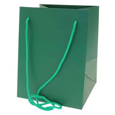 Large Hand Tied Gift Bag - Dark Green 19x25cm