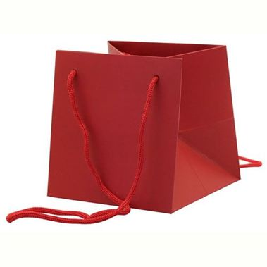 Hand Tied Gift Bag - Red 17x17cm