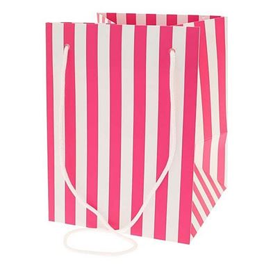 Hand Tied Gift Bag - Hot Pink Candy Stripe 19x25cm