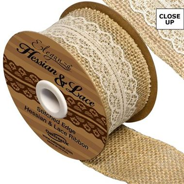 Ribbon - Hessian & Ivory Lace 50mm (woven edge)