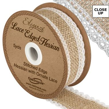 Ribbon - Hessian & White Lace 36mm (lace edge)