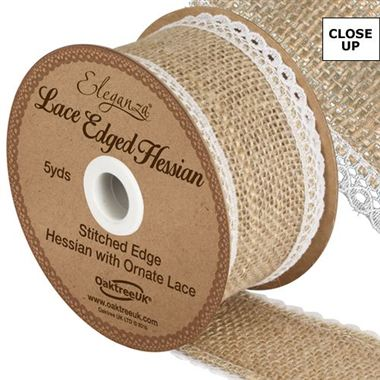 Ribbon Hessian & White Lace - 50mm