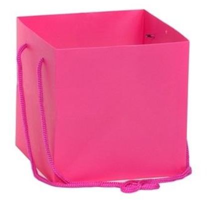 Hand Tied Gift Bag - Hot Pink 17x17cm