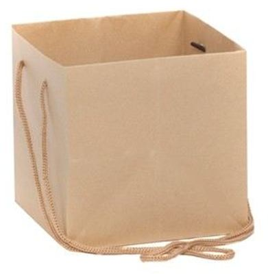 Hand Tied Gift Bag - Kraft 17x17cm