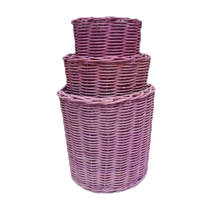 Three-Stack Lavender Willow Pots