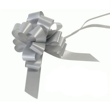 Ribbon Pull Bows Matt Silver - 30mm