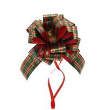 Ribbon Pull Bows Tartan - 30mm