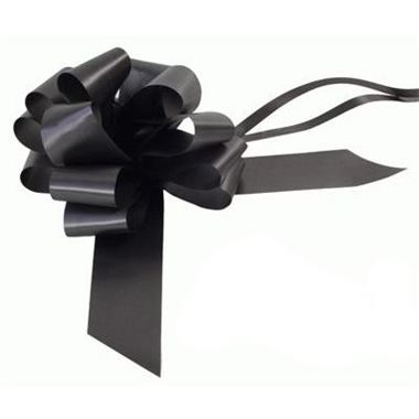 Ribbon Pull Bows Black - 50mm