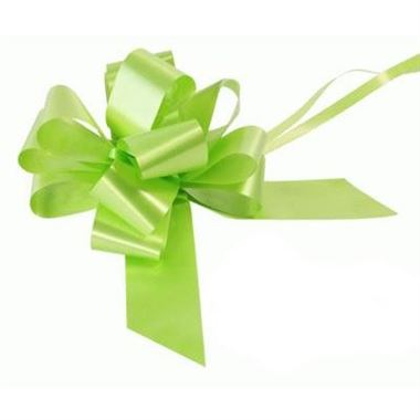 Ribbon Pull Bows Lime Green - 50mm