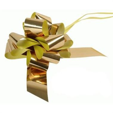 Ribbon Pull Bows Metallic Gold - 50mm