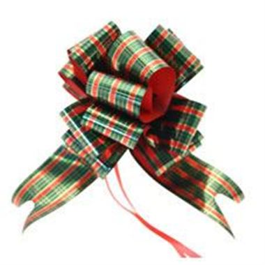 Ribbon Pull Bows Tartan - 50mm