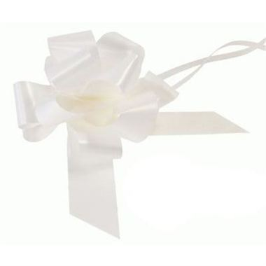 Ribbon Pull Bows White - 50mm