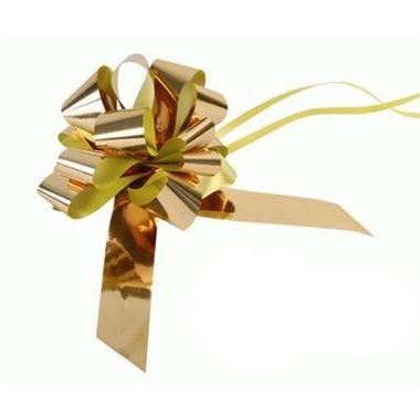 Ribbon Pull Bows Metallic Gold - 30mm