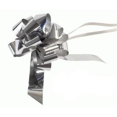 Ribbon Pull Bows Metallic Silver - 30mm