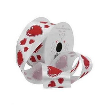 White Ribbon & Red Solid Hearts - 38mm x 10 yds