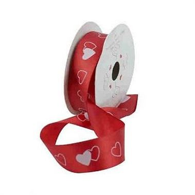 Red Ribbon & White Hearts - 25mm x 10 yds