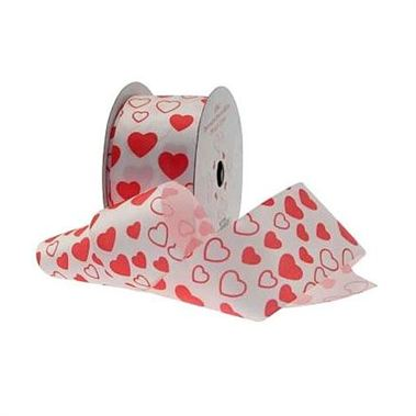 White Ribbon & Red Hearts - 38mm x 10 yds