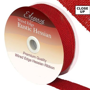 Hessian Ribbon Red - 32mm