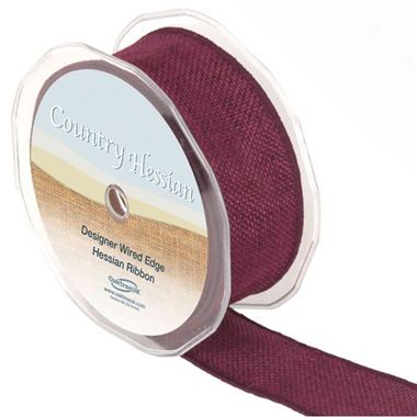 Hessian Ribbon Burgundy - 38mm