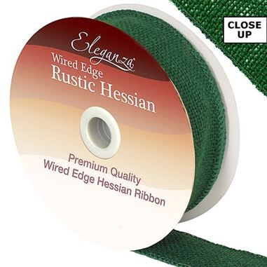 Ribbon Hessian Green - 32mm